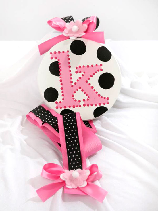 White w/ Black Dots Initial Hair Bow Holder-hair bow holder, hair bows, hair bow holders, tutu, tooth fairy pillows, headbands, pendants, charms, hairbow, hairbow holder, barrette holder, personalize hair bow holder, hairbows, ballerina bow holder, ballet bow holder, animal print bow holder, tooth pillow, party hats, birthday party hat, 1st birthday party hat, 1st birthday