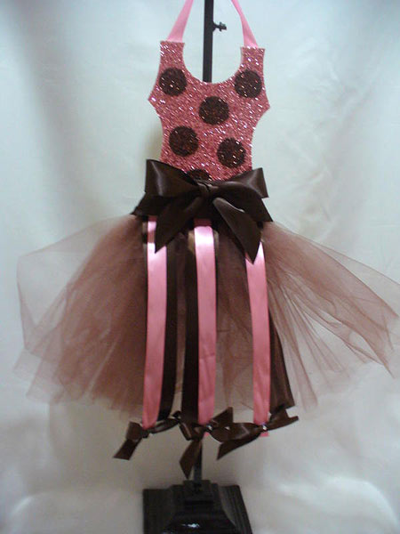 Pink and Brown Dot Glittered Tutu Hair Bow Holder-