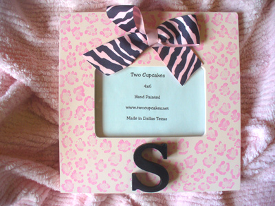 Pink Cheetah Initial Frame-children picture frames