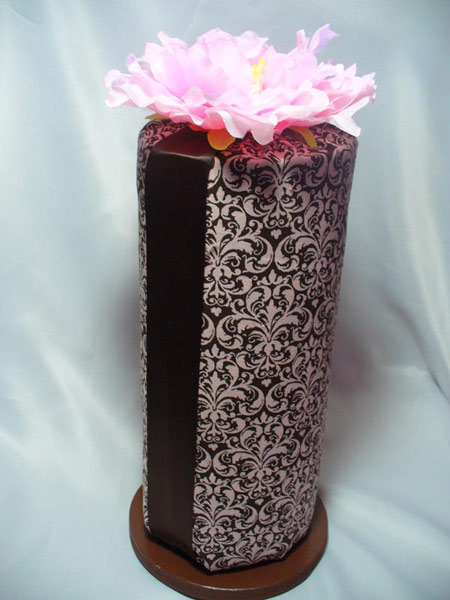 Pink & Chocolate Damask Headband Holder-Headband Rolls, hair bows, hair bow holders, tutu, tooth fairy pillows, headbands, pendants, charms, hairbow, hairbow holder, barrette holder, personalize hair bow holder, hairbows, ballerina bow holder, ballet bow holder, animal print bow holder, tooth pillow, party hats, birthday party hat, 1st birthday party hat, 1st birthday