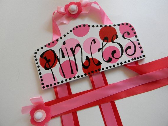 Plaque Hair Bow Holders Princess Pink and Red-plaque hair bow holder