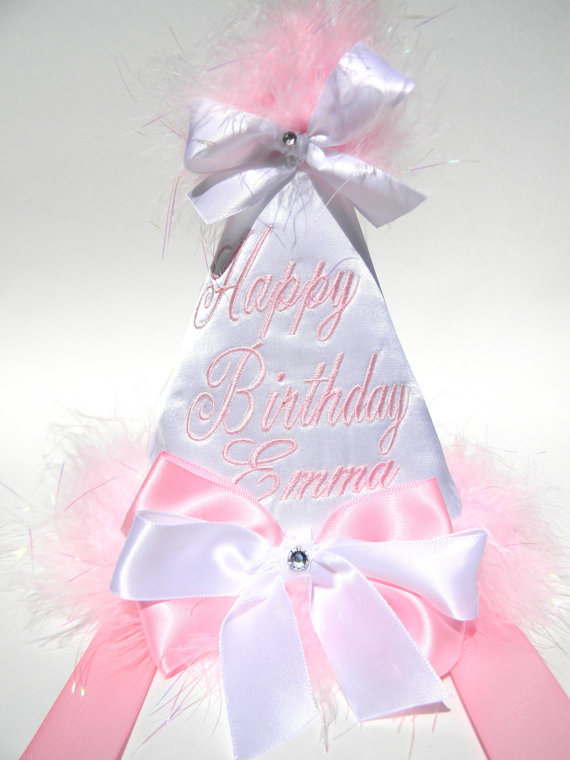 Boutique Style Birthday Party Hats-White Satin with Baby Pink-birthday party hats, hair bows, hair bow holders, tutu, tooth fairy pillows, headbands, pendants, charms, hairbow, hairbow holder, barrette holder, personalize hair bow holder, hairbows, ballerina bow holder, ballet bow holder, animal print bow holder, tooth pillow, party hats, birthday party hat, 1st birthday party hat, 1st birthday
