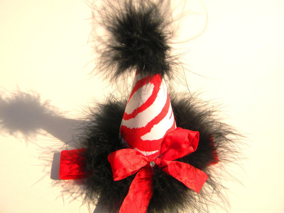 Headband Black and Red Zebra Party Hat-birthday party hats, hair bows, hair bow holders, tutu, tooth fairy pillows, headbands, pendants, charms, hairbow, hairbow holder, barrette holder, personalize hair bow holder, hairbows, ballerina bow holder, ballet bow holder, animal print bow holder, tooth pillow, party hats, birthday party hat, 1st birthday party hat, 1st birthday