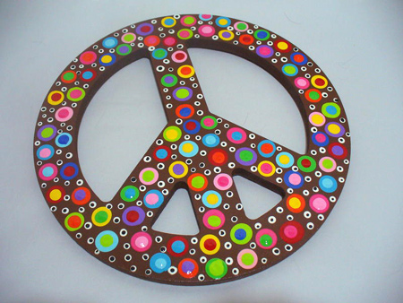Hand Painted Wooden Polka Dotted Peace Sign Children S Wall Decor