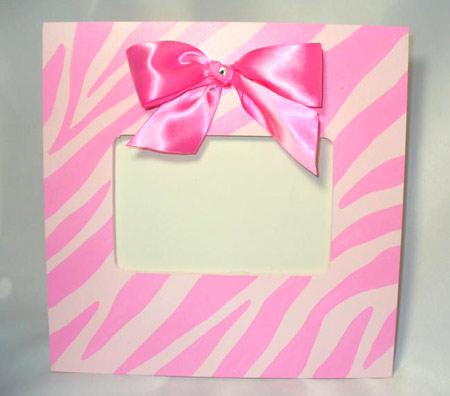pink zebra painted frame children picture frames