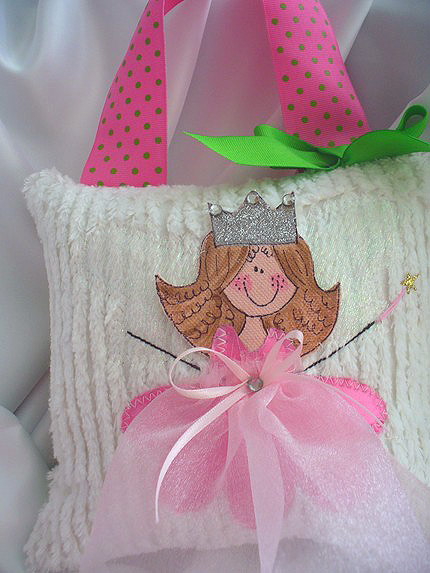 Girls Tooth Fairy Pillow Pink Rosie-Tooth Fairy Pillows, hair bows, hair bow holders, tutu, tooth fairy pillows, headbands, pendants, charms, hairbow, hairbow holder, barrette holder, personalize hair bow holder, hairbows, ballerina bow holder, ballet bow holder, animal print bow holder, tooth pillow, party hats, birthday party hat, 1st birthday party hat, 1st birthday