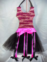 Pink Zebra Glittered Tutu Bow Holder-tutu, hair bow holder