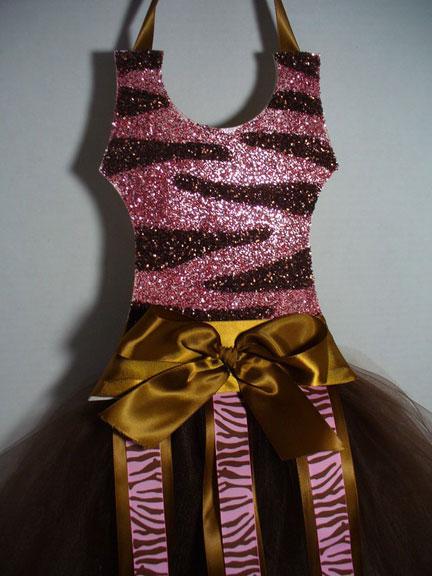 Tutu Bow Holder Glitter Pink and Brown Zebra-tutu bow holders