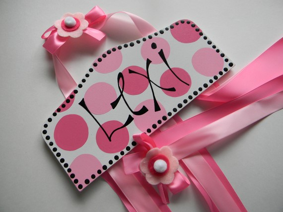 Plaque Hair Bow Holders Lexi Pink Polka Dot-plaque hair bow holder