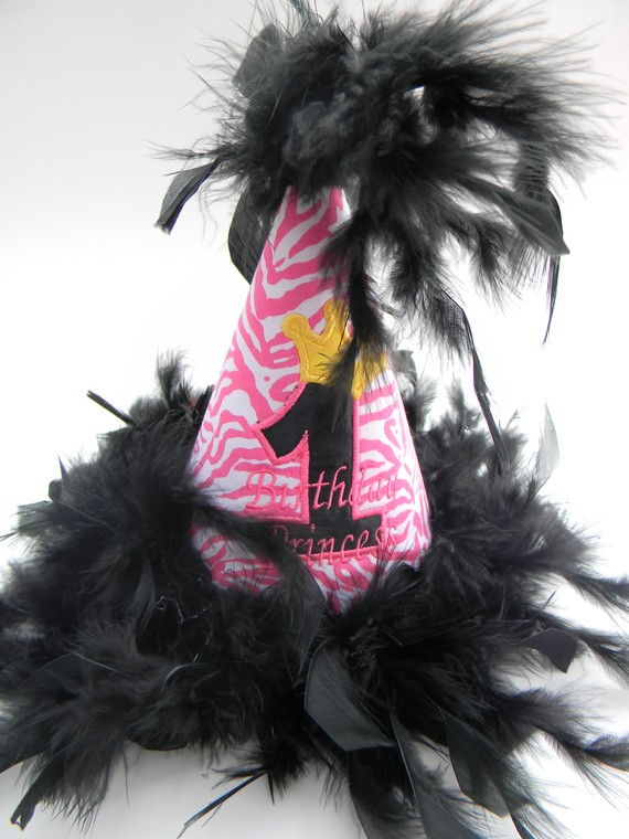 Boutique Style Birthday Party Hats-Pink Zebra-birthday party hats, hair bows, hair bow holders, tutu, tooth fairy pillows, headbands, pendants, charms, hairbow, hairbow holder, barrette holder, personalize hair bow holder, hairbows, ballerina bow holder, ballet bow holder, animal print bow holder, tooth pillow, party hats, birthday party hat, 1st birthday party hat, 1st birthday