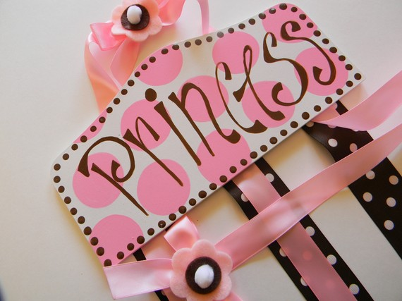 Plaque Hair Bow Holders Princess Pink and Black-plaque hair bow holder