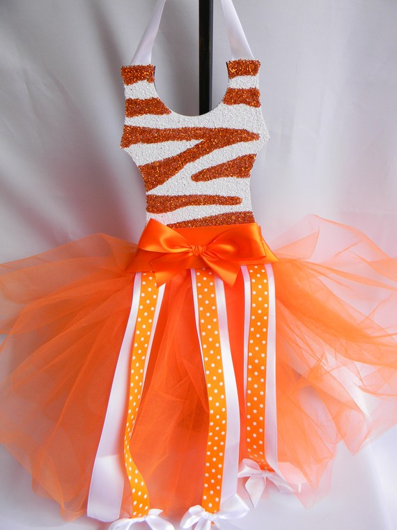 Tutu Bow Holder Glitter Bright Orange and White Zebra-tutu bow holders