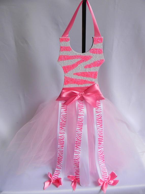 Tutu Bow Holder Glitter Bubblegum Pink and White Zebra-tutu bow holders