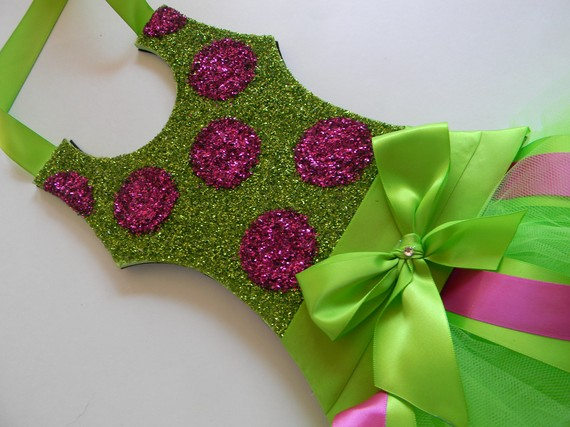 Tutu Bow Holder Glitter Lime Green and Hot Pink Dot-tutu bow holders