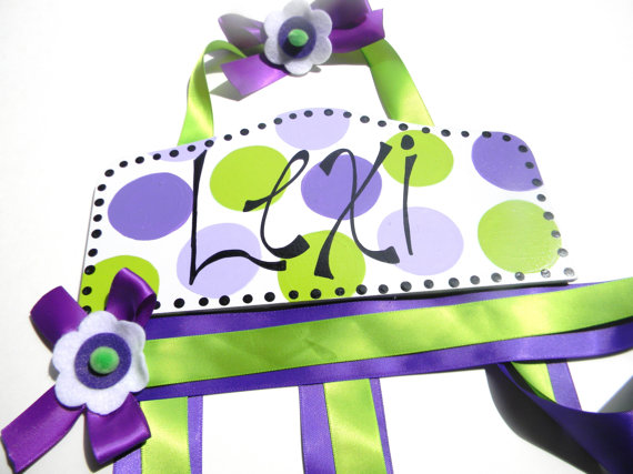 Plaque Hair Bow Holders Lexi Green and Purple Polka Dot-plaque hair bow holder