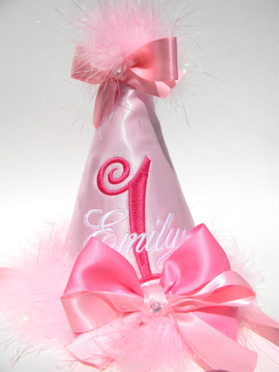 Boutique Style Birthday Party Hats-Pink Satin-birthday party hats, hair bows, hair bow holders, tutu, tooth fairy pillows, headbands, pendants, charms, hairbow, hairbow holder, barrette holder, personalize hair bow holder, hairbows, ballerina bow holder, ballet bow holder, animal print bow holder, tooth pillow, party hats, birthday party hat, 1st birthday party hat, 1st birthday