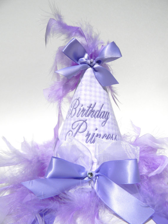 Boutique Style Birthday Party Hats-Lavender Gingham-birthday party hats, hair bows, hair bow holders, tutu, tooth fairy pillows, headbands, pendants, charms, hairbow, hairbow holder, barrette holder, personalize hair bow holder, hairbows, ballerina bow holder, ballet bow holder, animal print bow holder, tooth pillow, party hats, birthday party hat, 1st birthday party hat, 1st birthday