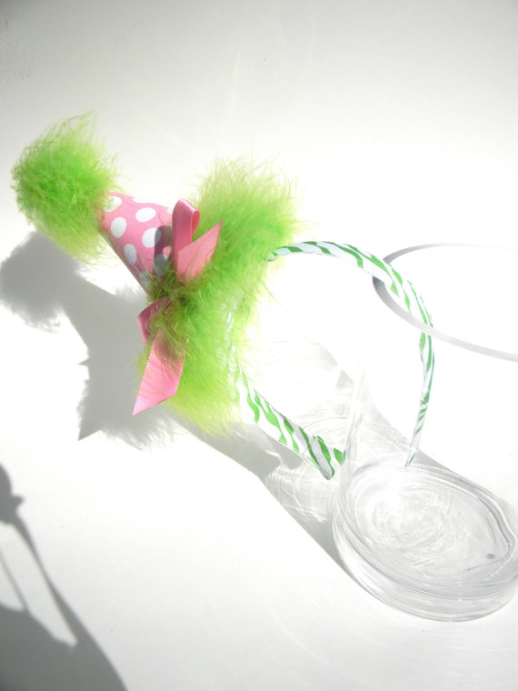 Headband Pink Polka Dot with Lime Party Hat-birthday party hats
