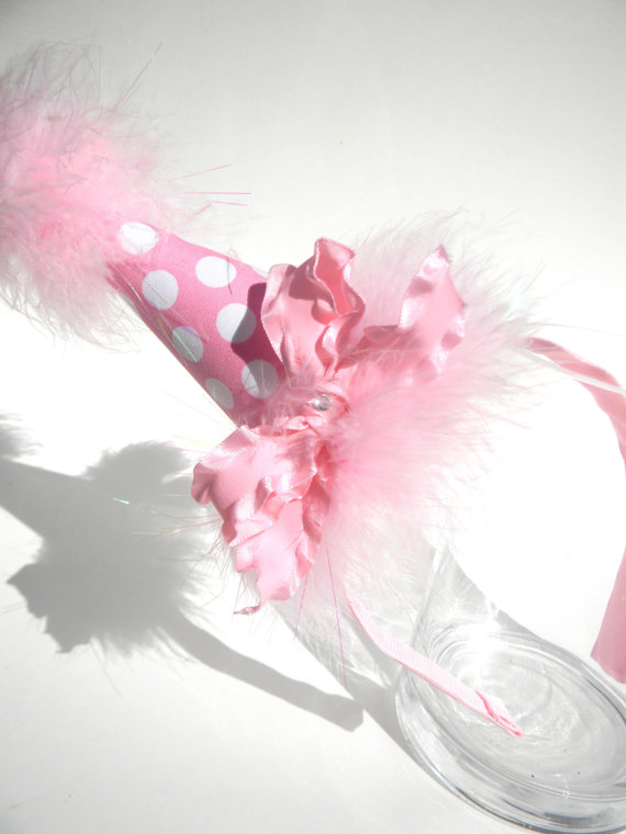 Headband Pink Polka Dot Party Hat-birthday party hats