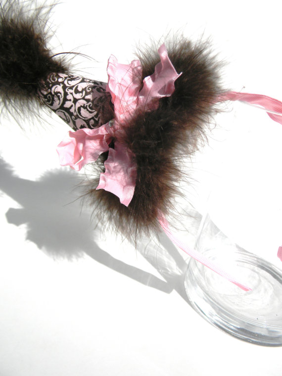 Headband Pink and Brown Damask Party Hat-birthday party hats