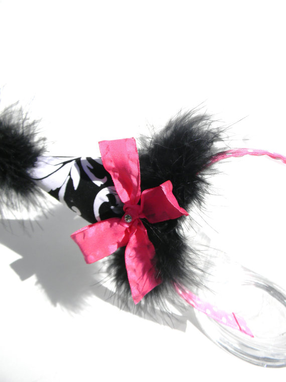 Headband Marijane Black and White with Hot Pink Party Hat-birthday party hats
