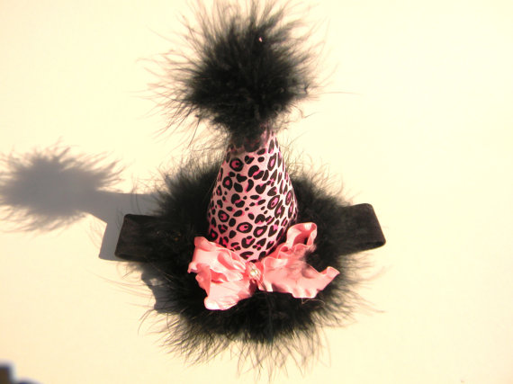 Headband Black Pink Cheetah Party Hat-birthday party hats, hair bows, hair bow holders, tutu, tooth fairy pillows, headbands, pendants, charms, hairbow, hairbow holder, barrette holder, personalize hair bow holder, hairbows, ballerina bow holder, ballet bow holder, animal print bow holder, tooth pillow, party hats, birthday party hat, 1st birthday party hat, 1st birthday