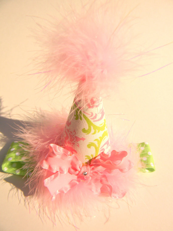 Headband Pink and Lime Green Vine Party Hat-birthday party hats