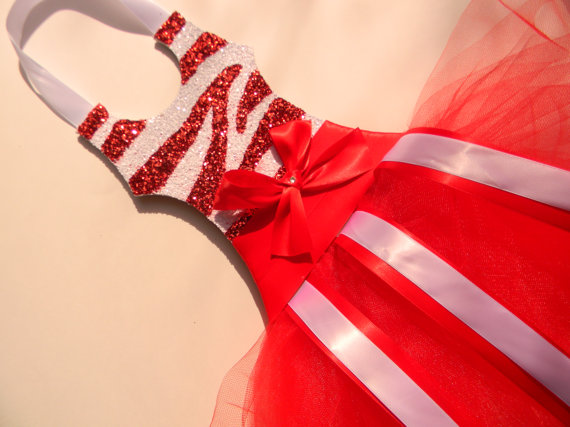 Tutu Bow Holder Glitter Bright Red and White Zebra-tutu bow holders