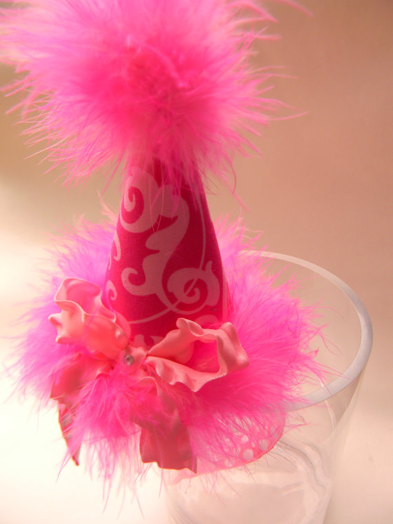 Headband Hot Pink Damask Party Hat-birthday party hats
