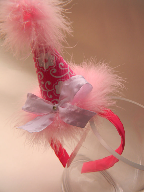 Headband Hot Pink with White Flowers Party Hat-birthday party hats