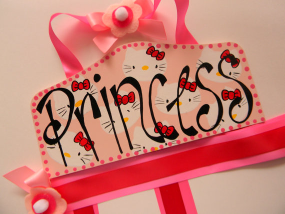 Plaque Hair Bow Holders Princess Hello Kitty-plaque hair bow holder
