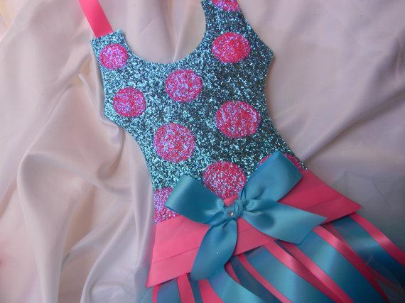 Tutu Bow Holder Glitter Turquoise and Bubblegum Polka Dot-tutu bow holders