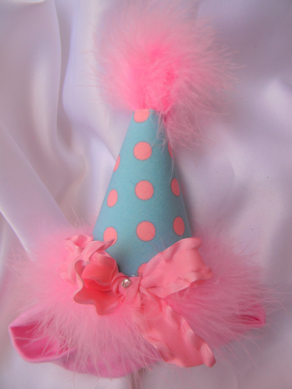 Headband Blue and Pink Polka Dot Party Hat-birthday party hats