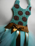 Tutu Bow Holder Glitter Aqua and Brown Dot-tutu bow holders