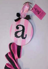 Pink and White Stripe with Black Initial Hair Bow Holder-hair bow holder, hair bows, hair bow holders, tutu, tooth fairy pillows, headbands, pendants, charms, hairbow, hairbow holder, barrette holder, personalize hair bow holder, hairbows, ballerina bow holder, ballet bow holder, animal print bow holder, tooth pillow, party hats, birthday party hat, 1st birthday party hat, 1st birthday