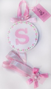 White and Pink Floral Initial Hair Bow Holder-hair bow holder, hair bows, hair bow holders, tutu, tooth fairy pillows, headbands, pendants, charms, hairbow, hairbow holder, barrette holder, personalize hair bow holder, hairbows, ballerina bow holder, ballet bow holder, animal print bow holder, tooth pillow, party hats, birthday party hat, 1st birthday party hat, 1st birthday
