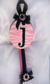 Pink Zebra with Black Initial Hair Bow Holder-hair bow holder, hair bows, hair bow holders, tutu, tooth fairy pillows, headbands, pendants, charms, hairbow, hairbow holder, barrette holder, personalize hair bow holder, hairbows, ballerina bow holder, ballet bow holder, animal print bow holder, tooth pillow, party hats, birthday party hat, 1st birthday party hat, 1st birthday