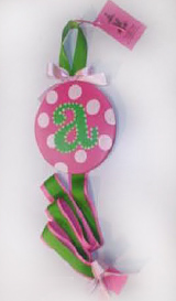 Pink and White Dot with Green Initial Hair Bow Holder-hair bow holder, hair bows, hair bow holders, tutu, tooth fairy pillows, headbands, pendants, charms, hairbow, hairbow holder, barrette holder, personalize hair bow holder, hairbows, ballerina bow holder, ballet bow holder, animal print bow holder, tooth pillow, party hats, birthday party hat, 1st birthday party hat, 1st birthday