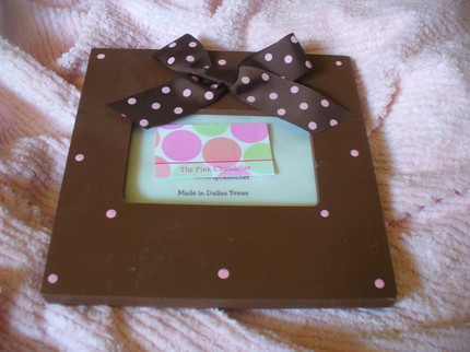 Brown w/ Pk Swiss Dots-Frame-children picture frames