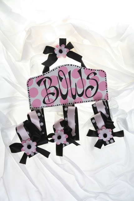 White w/ Pink Dots Plaque Hair Bow Holder-Plaque Hair Bow Holders
